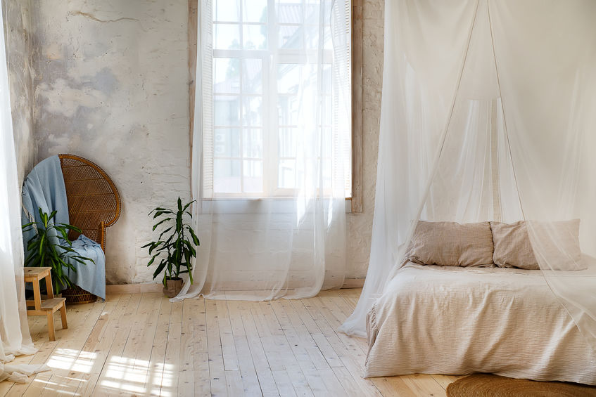 baldacchino con tende