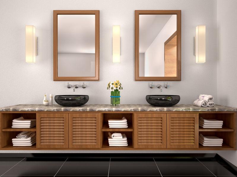 Doppio lavabo in bagno: da appoggio su un unico mobile