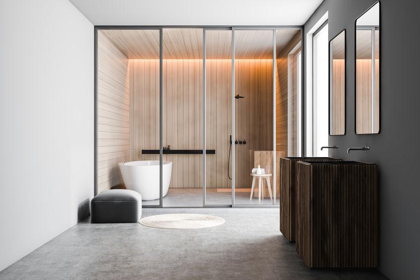 Bagno: soluzione freestanding per un doppio lavabo