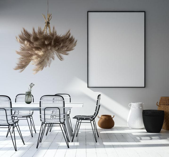 Parquet bianco per illuminare la sala da pranzo