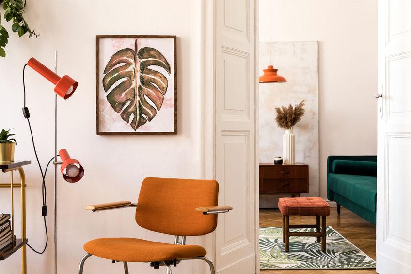 sedia vintage arancione