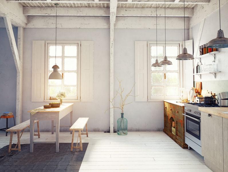 Cucina eclettica: commistione di mobili