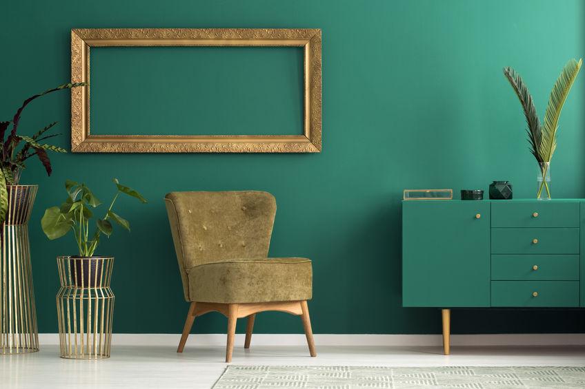 Verde ottanio: un colore trendy per arredare una zona giorno