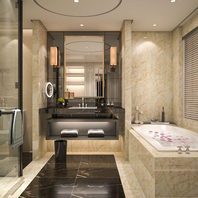 Specchio in bagno con applique laterali