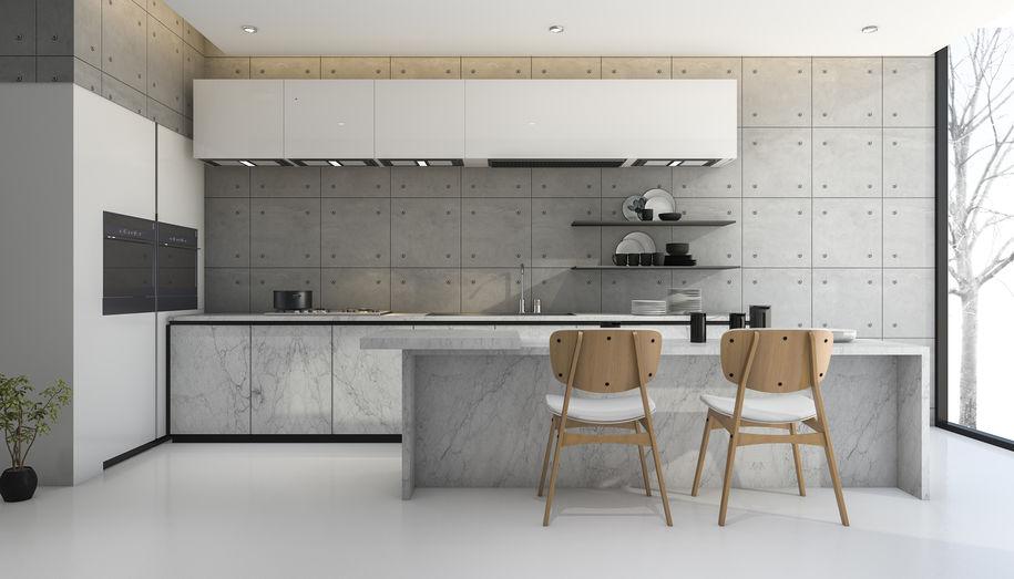 Cucina in marmo e laminato bianco liscio