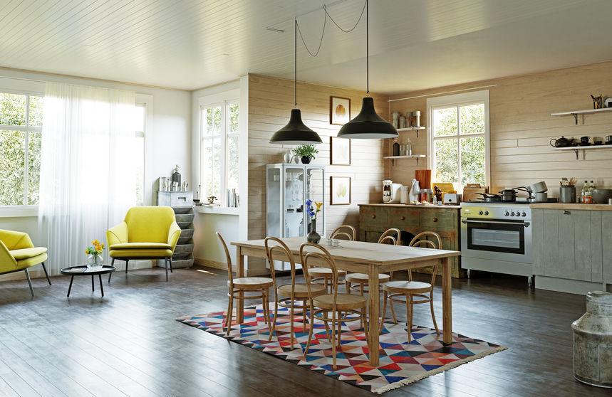 Tappeto in sala da pranzo: colorato e frizzante
