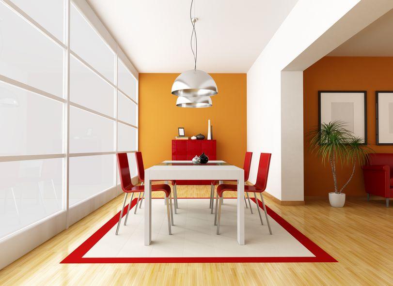 Tappeto in sala da pranzo: bordato bi-color