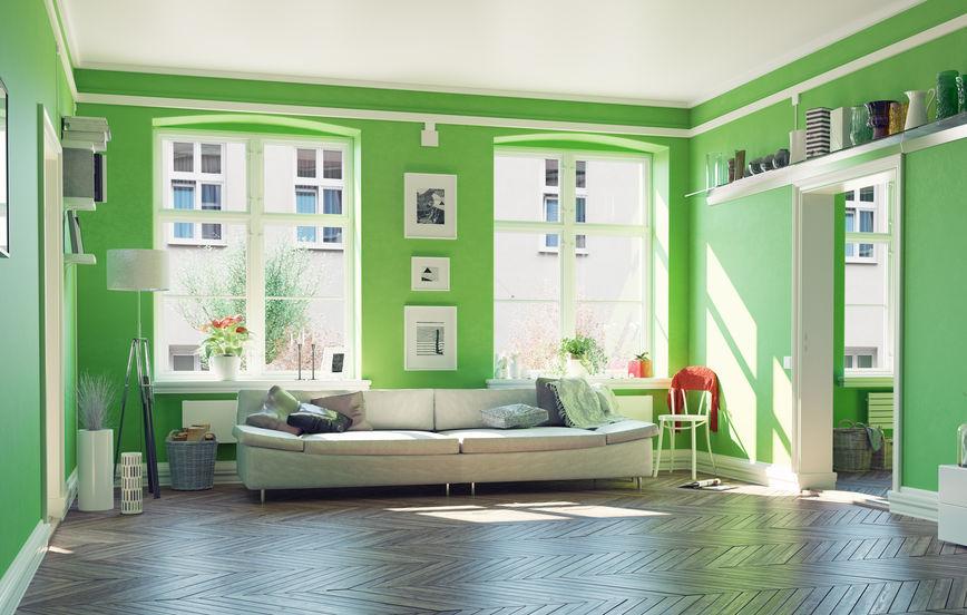 pareti verdi soggiorno