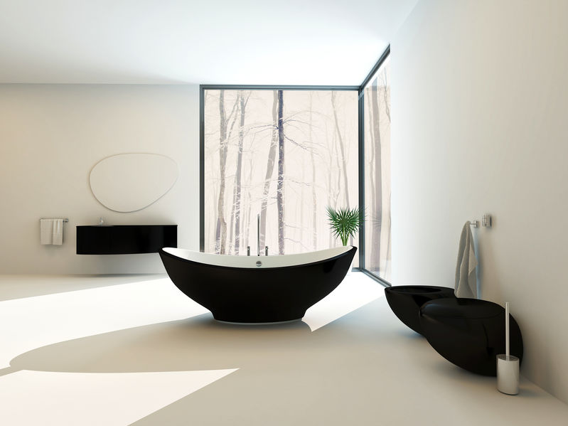 Accessori di tendenza in nero in bagno