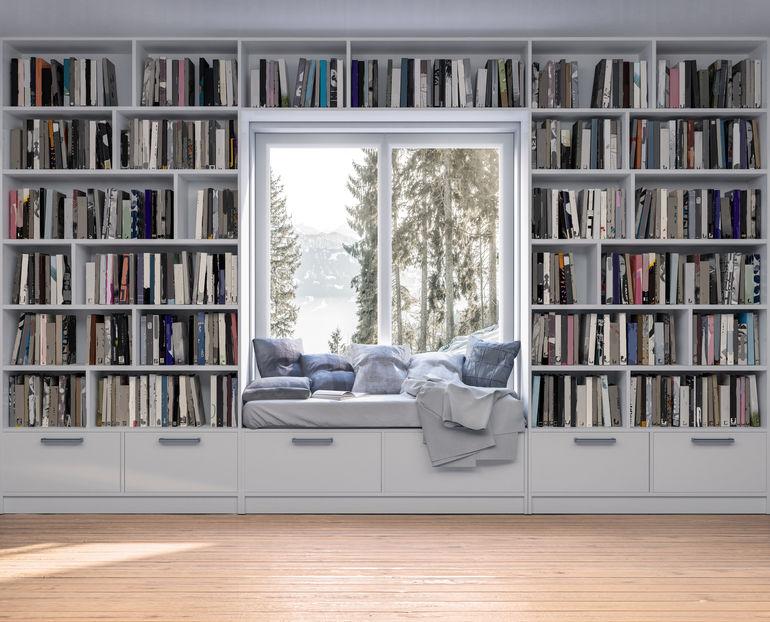 Libreria moderna e su misura con nicchia