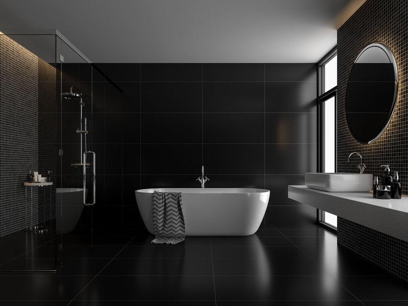Piastrelle quadrate: tessere a mosaico nella doccia e sul lavabo