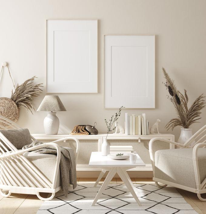 Un soggiorno rilassante in stile scandi boho