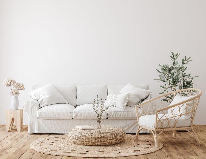 Stile scandi boho per un soggiorno rilassante