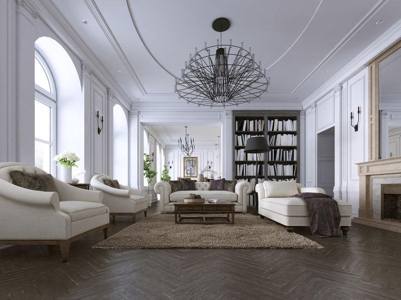 soggiorno classico con soffitti alti