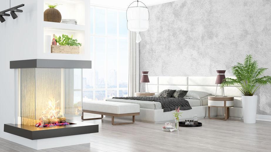 camino moderno per camera da letto