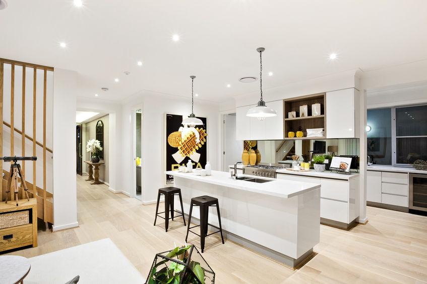 Cucina di stile: disposizione su tre livelli
