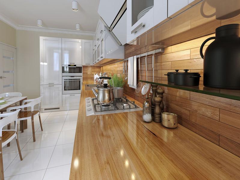 piastrelle effetto legno cucina