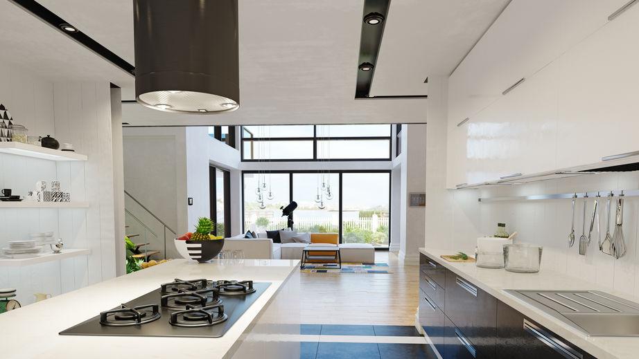 Cucina con vetrate fisse a riquadri