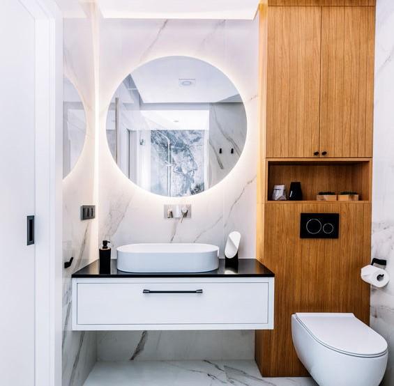 Specchio tondo retroilluminato in bagno