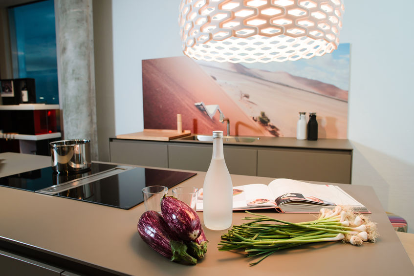 lampadario sull'isola in cucina