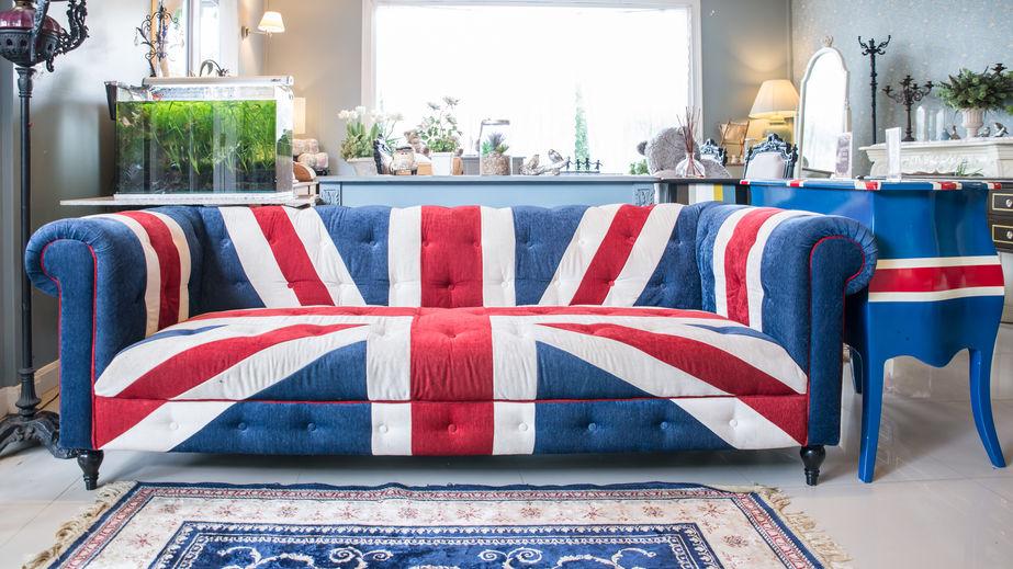 Divano chester con bandiera inglese