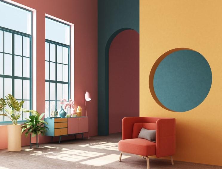 Color block negli interni: giochi di colori e forme di tendenza