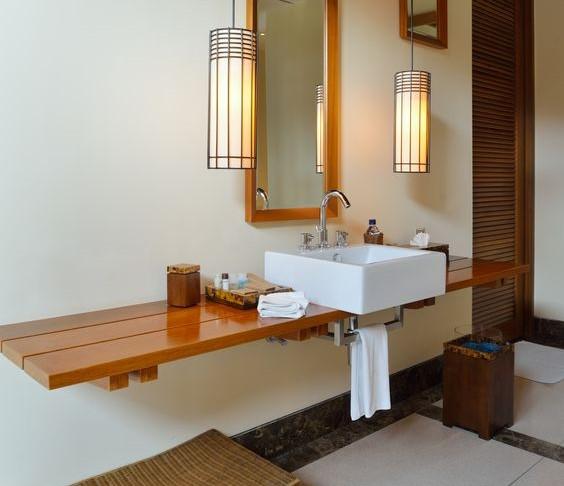 mensola in legno come mobile lavabo