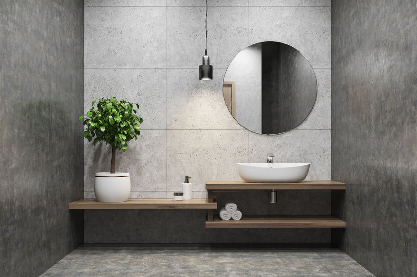 mobile bagno con mensole sfalsate