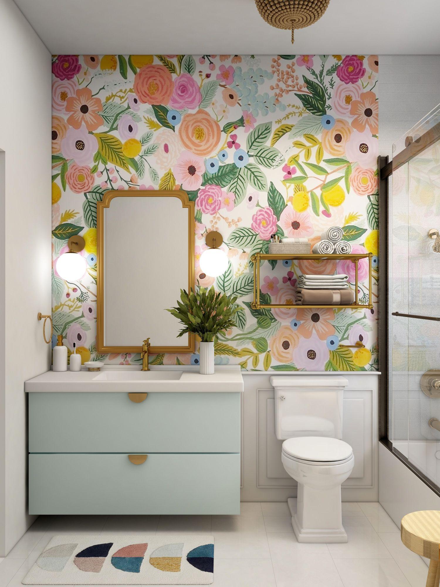 Carta da parati floreale in bagno