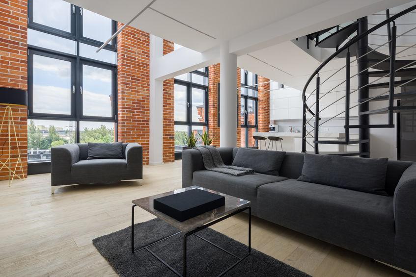 Loft in stile industriale: soggiorno